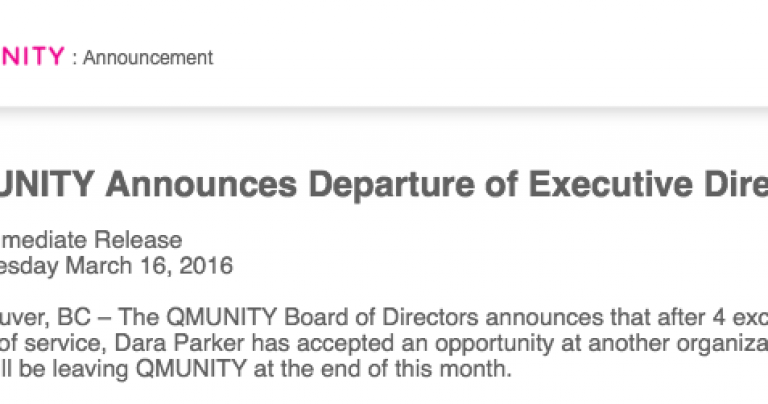 Board of Directors Announces Departure of Executive Director